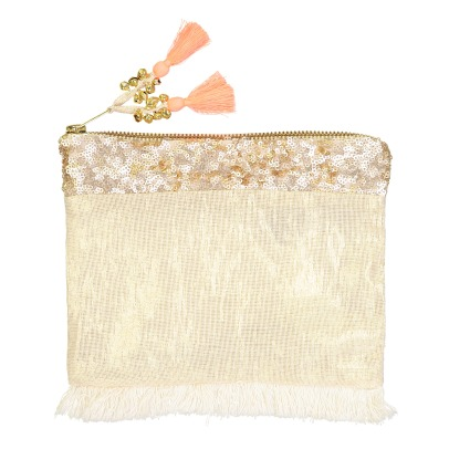 Louise Misha Glitter Pompom Embroidered Pouch-listing