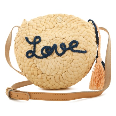 Chloé Pompom Love Leather Handle Straw Saddlebag-listing