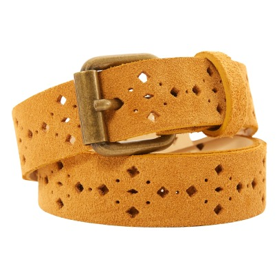 Sessun Ruff Honey Perforated Split Leather Belt-listing