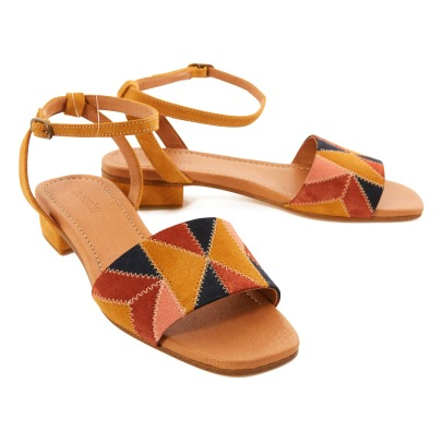 Sessun Patchy Patchwork Split Leather Sandals-listing