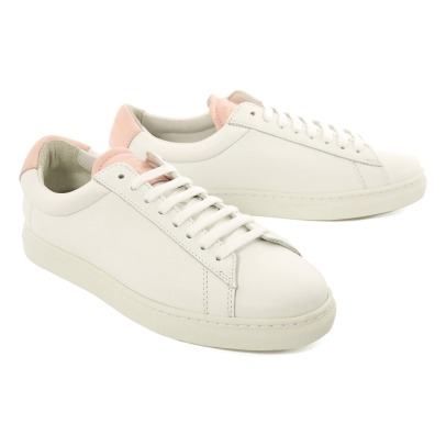 Zespà ZSP4 APLA Powder Pink Detail Lace-Up Leather Trainers-listing