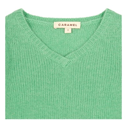 Caramel Jersey cuello V cashmere Lanyer-listing