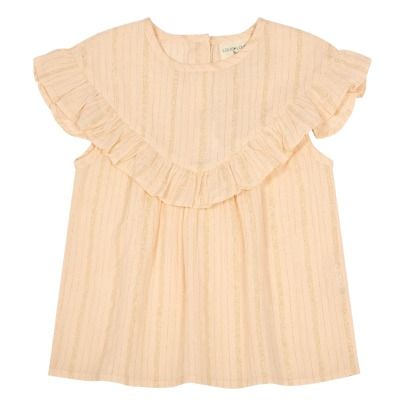 Louis Louise Victoire Ruffled Lurex Striped Blouse-listing