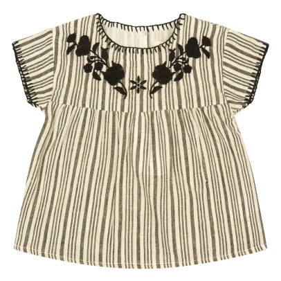 Louis Louise Rosita Embroidered Flower Striped Blouse-listing