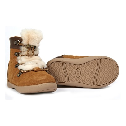 Ugg Ager Suede and Fur Lace-Up Boots-listing