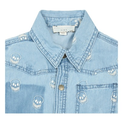 Stella McCartney Kids Melvil Embroidered Skull Chambray Shirt-listing