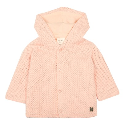 CARREMENT BEAU Pompom Hooded Knit Coat-listing