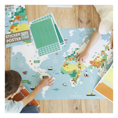 Poppik World Map Sticker Poster-listing