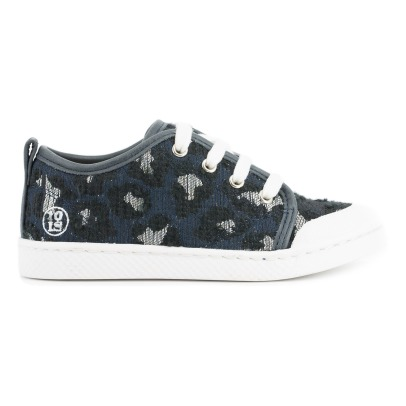 10 IS Sneakers in pelle con lacci stampa leopardo -listing