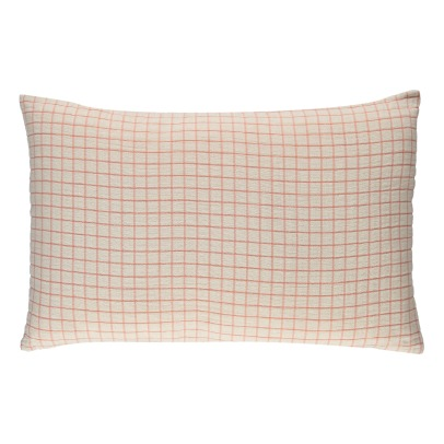 Communauté de biens Checked Washed Linen Hemstitched Cushion-listing