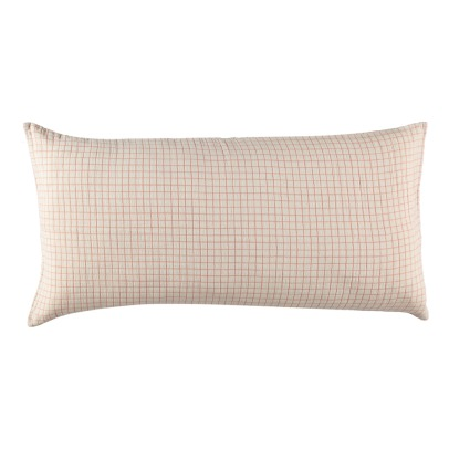 Communauté de biens Checked Washed Linen Mesh Hemstitched Cushion With Sheath-listing