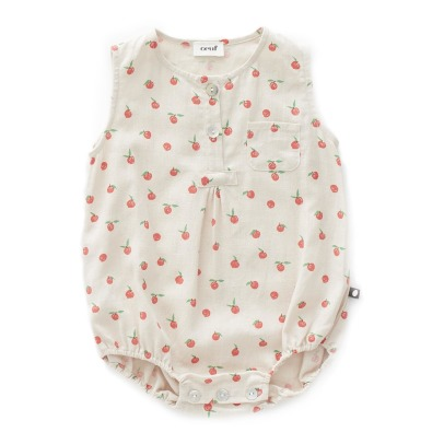 Oeuf NYC Peach Linen Romper-listing