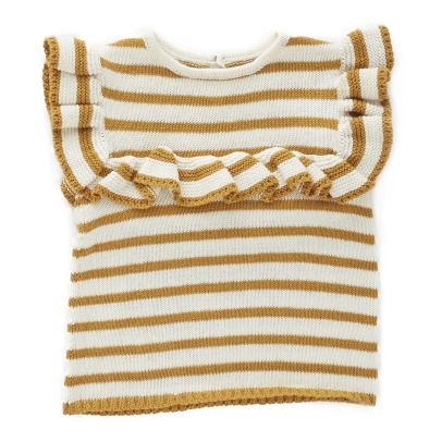 Oeuf NYC Pima Cotton Ruffle Striped Knit Top-listing
