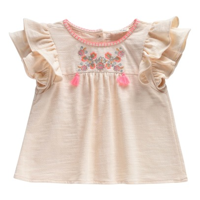 Louise Misha Aboli Ruffled Embroidered Plastron Jersey Top -listing