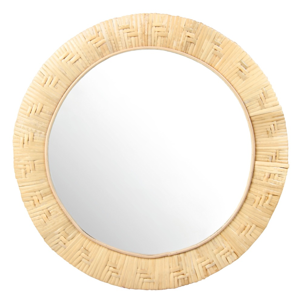 Miroir rond en bambou d27 5 cm naturel klevering design adulte for Miroir rond design