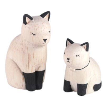 T-Lab Siamese Cat Wooden Figurines - Set of 2-listing