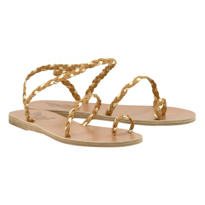 Ancient Greek Sandals Eleftheria Two-Tone Plaited Leather Sandals-listing