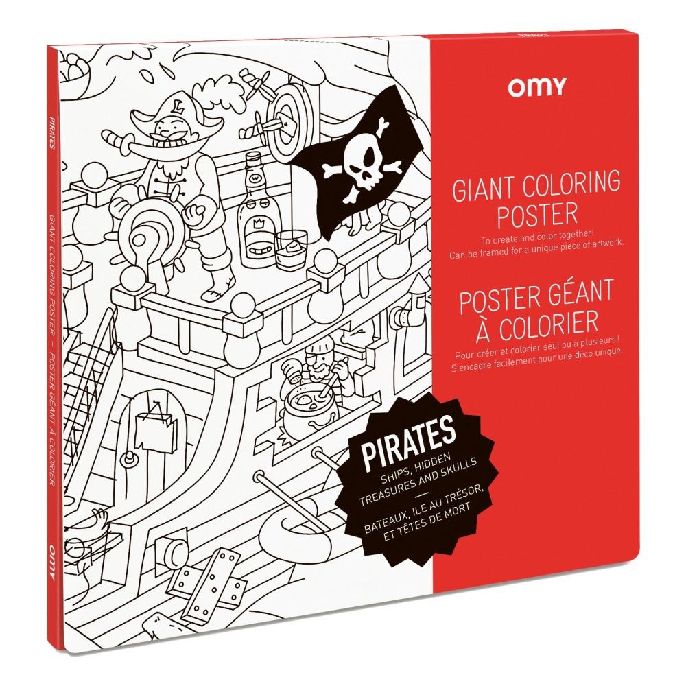 Poster gigante para colorear Piratas Blanco Omy Juguetes y Hobby