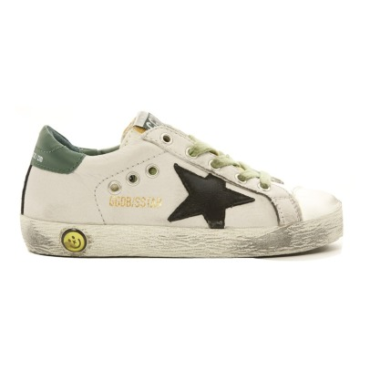 Golden Goose Superstar Black Star Green Back Suede Low Top Trainers-listing