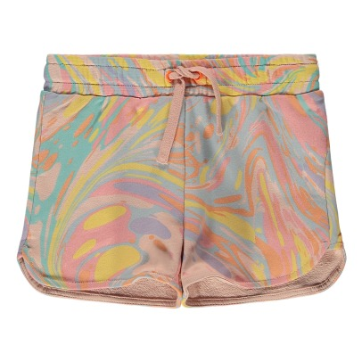 Stella McCartney Kids Beryl Marbled Organic Cotton Fleece Shorts-listing
