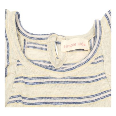 Simple Kids Top Jersey Rayé Volants Brodés Sweety-listing
