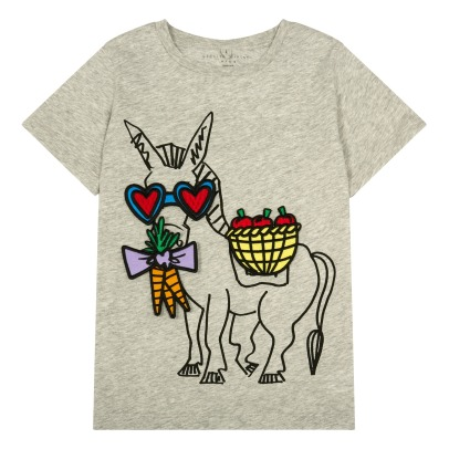 Stella McCartney Kids Arlow Removable Patch Donkey Organic Cotton T-Shirt-listing