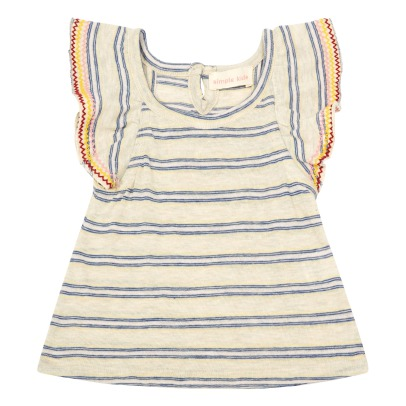 Simple Kids Sweety Embroidered Ruffle Striped Jersey Top-listing