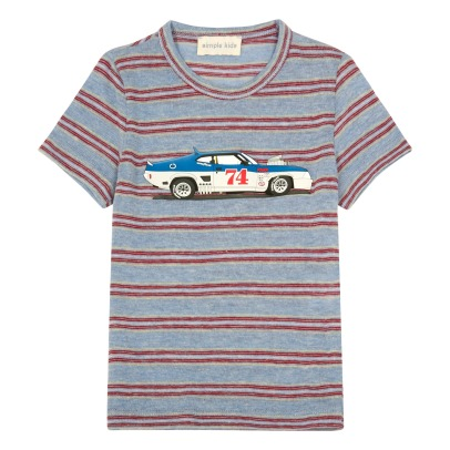 Simple Kids Car Striped T-Shirt-listing