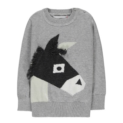 Stella McCartney Kids Lucky Fringed DOnkey Organic Cotton Jumper-listing