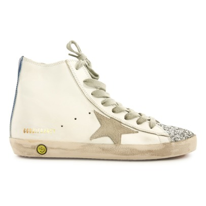 Golden Goose Deluxe Brand Glitter Toe Lace-Up and Zip Francy Leather High Top Trainers-listing