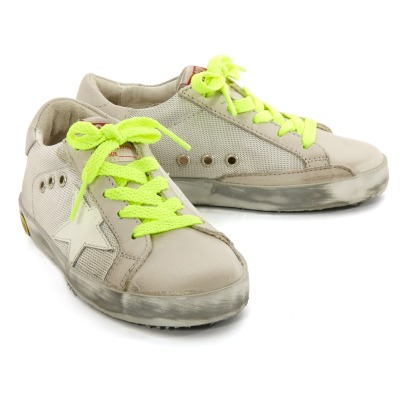 Golden Goose Deluxe Brand Fluos Lace-Up Silver Sole Superstar Mesh Low Top Triainers-listing