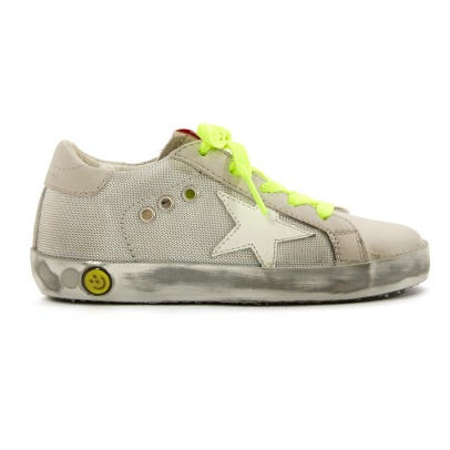 Golden Goose Fluos Lace-Up Silver Sole Superstar Mesh Low Top Triainers-listing