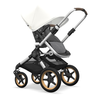 Bugaboo Fox Complete Convertible Pushchair with Aluminium Frame, Grey Flecked Seat, Grey Flecked Carrycot and Cream Sun Canopy-listing