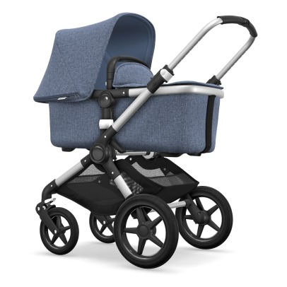 Bugaboo FOX Convertible Complete Pushchair with Aluminium Frame, Blue Flecked Seat and Blue Flecked Carrycot-listing