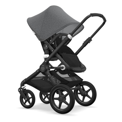 Bugaboo FOX Convertible Complete Pushchair with Black Frame, Grey Flecked Seat and Grey Flecked Carrycot-listing