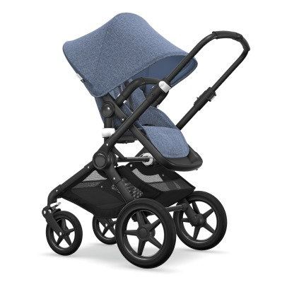 Bugaboo FOX Convertible Complete Pushchair with Black Frame, Blue Flecked Seat and Blue Flecked Carrycot-listing