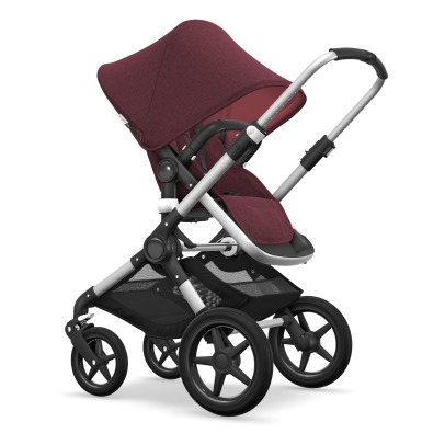 Bugaboo FOX Convertible Complete Pushchair with Aluminium Frame, Red Flecked Seat and Red Flecked Carrycot-listing
