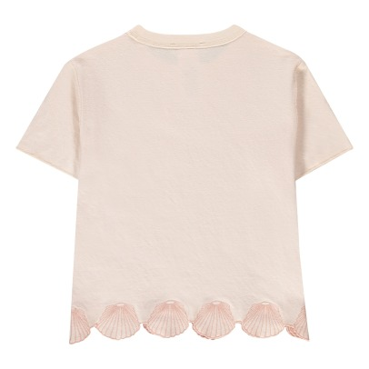 Stella McCartney Kids T-shir double face in cotone bio con conchiglie ricamate Alessandra-listing