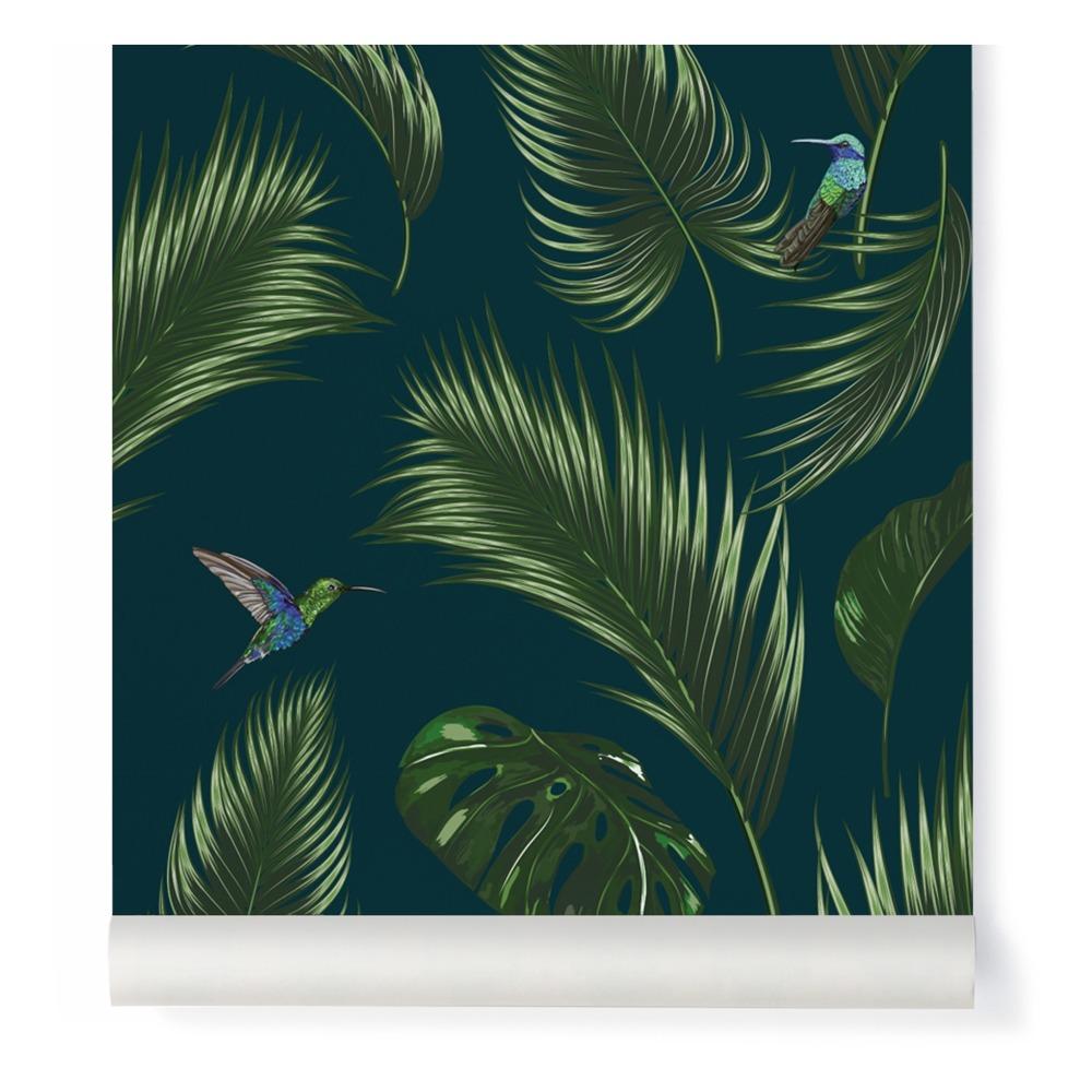 papier peint jungle traditional bleu p trole papermint design. Black Bedroom Furniture Sets. Home Design Ideas