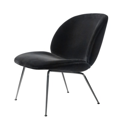 Gubi Beetle Padded Lounge Chair With Conic Base, GamFratesi, 2013, Black/Velvet-listing
