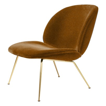 Gubi Beetle Padded Lounge Chair With Conic Base, GamFratesi, 2013, Brass/Velvet-listing