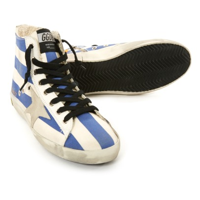 Golden Goose Star Suede Lace-Up and Zip Striped Canvas Francy High Top Trainers-listing
