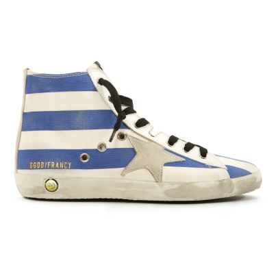 Golden Goose Deluxe Brand Star Suede Lace-Up and Zip Striped Canvas Francy High Top Trainers-listing