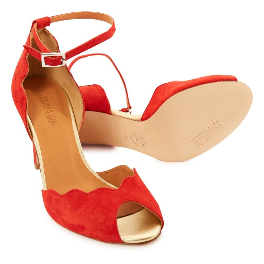Marron (Suède Camel) Sandales à Talons Suède Astride - Emma Go YQQ Sandales Et Pantoufles Strass Chaussures Plates Talons Bas Chaussures De Femme Chaussures De Printemps Et D'été Confortable Mode Dame Fille (Couleur : Rouge gL2Pq1M