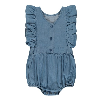 Louis Louise Marie Ruffled Chambray Romper-listing