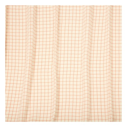 Communauté de biens Checked Washed Linen Mesh Curtain With Sheath-listing