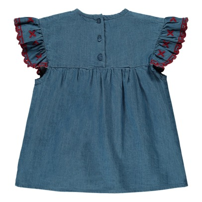 Louis Louise Victoire Ruffled Embroidered Chambray Blouse-listing