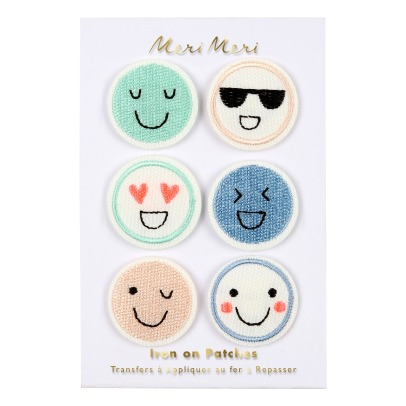 Meri Meri Iron-on Embroidered Emoji Patches - Set of 6-listing