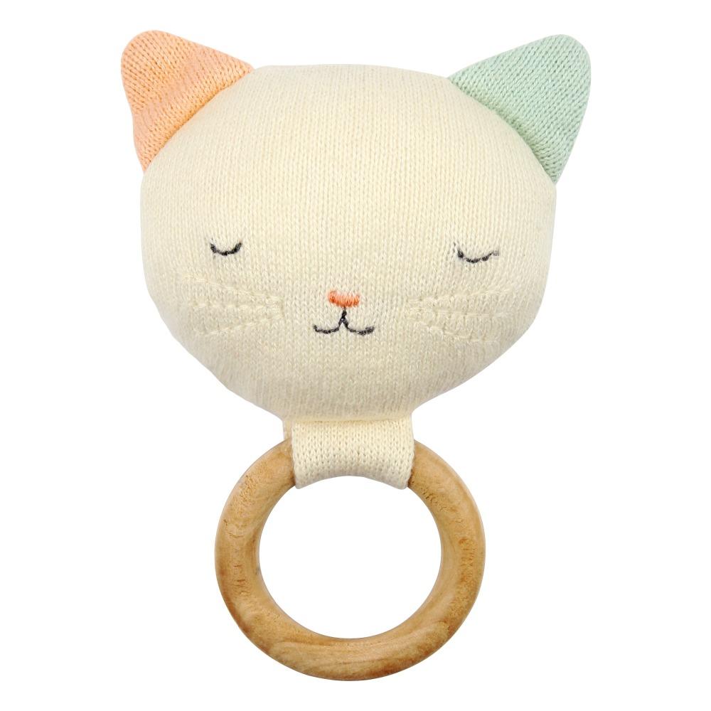Hochet Chat en coton organique Multicolore Meri Meri Jouet et