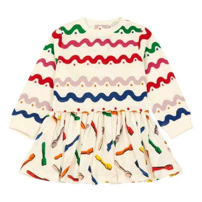 Stella McCartney Kids Robe Coton Bio Bi-matières Cuillères Glaces India-product
